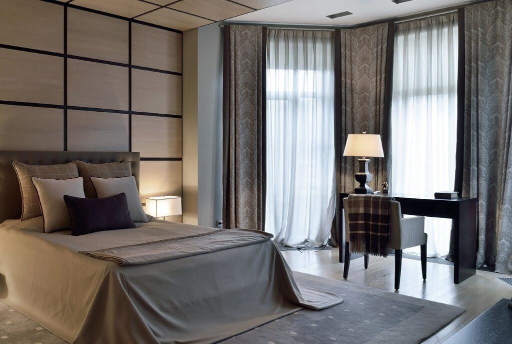 кофейные шторы в спальне