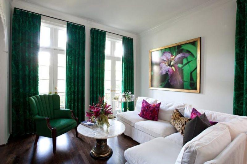 стильные зеленые шторы