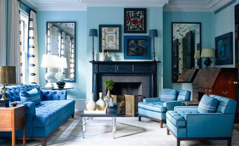 гостиная синего цвета