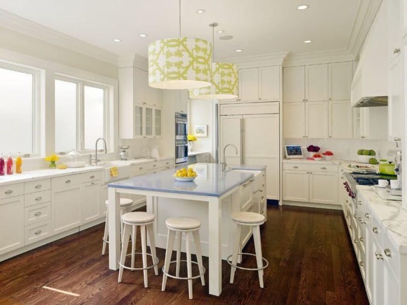 подвесные светильники на кухне