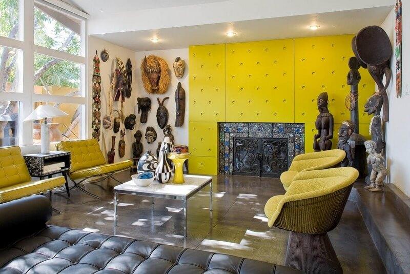дизайн гостиной желтого цвета
