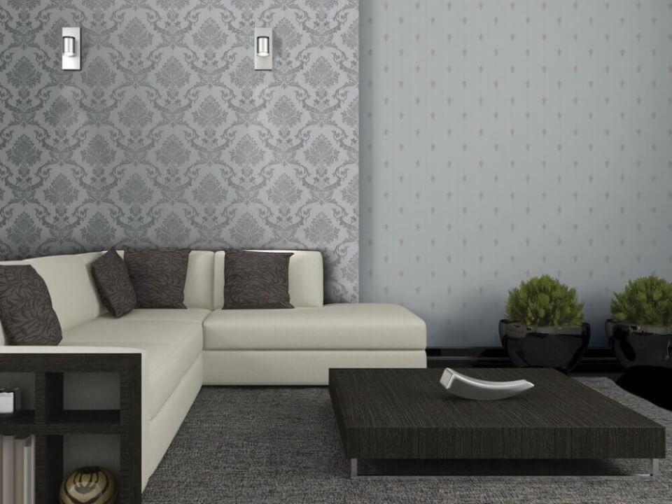 текстильні шпалери у вітальні