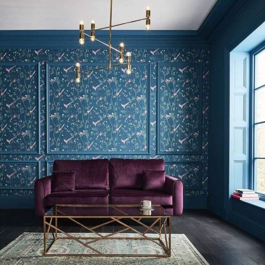 модні сині шпалери в зал