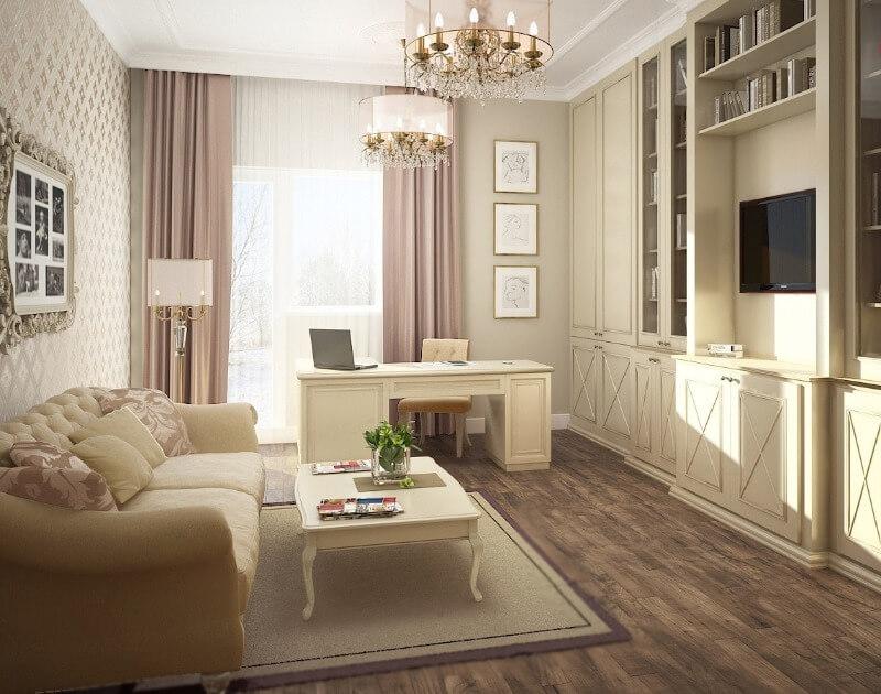 дизайн однокімнатної квартири в класичному стилі