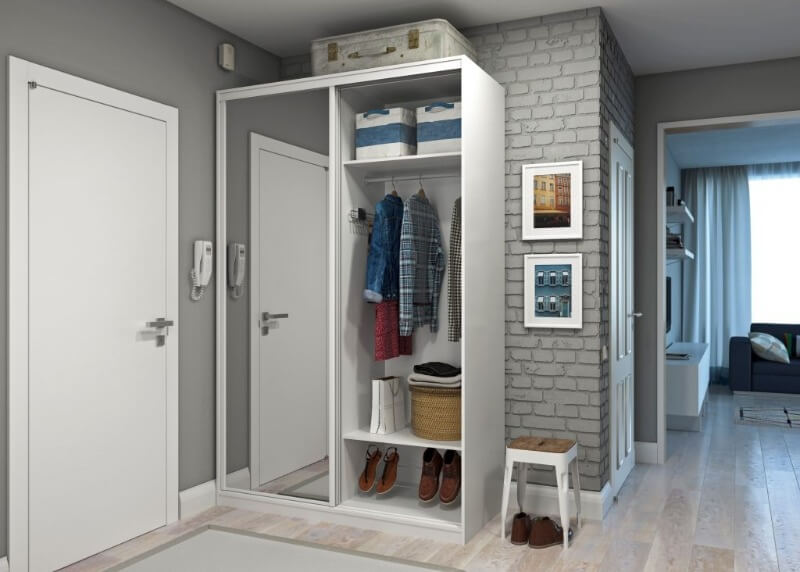 маленький шкаф в дизайне однушки