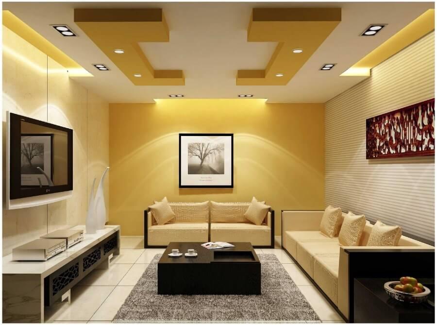 желтый дизайн потолка