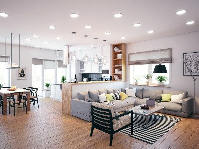 зонирование квартиры осветительными приборами