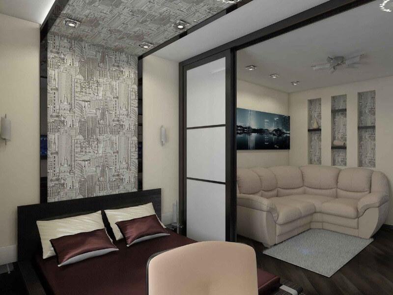 зонування кімнати шторами