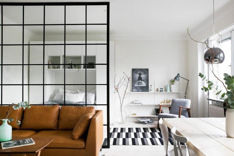 зонирование однокомнатной квартиры стеллажами