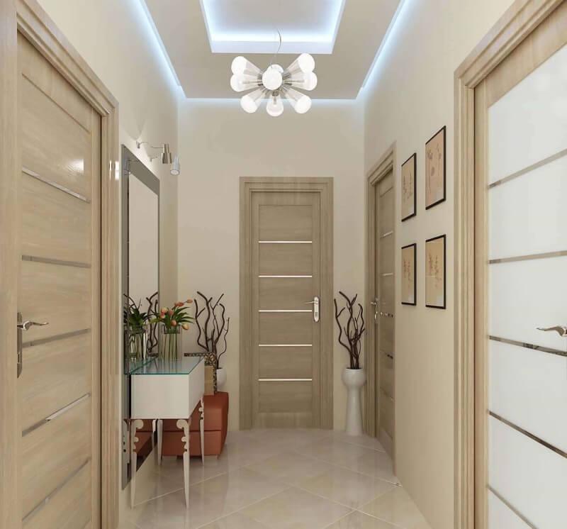 дизайн коридору бежевий колір