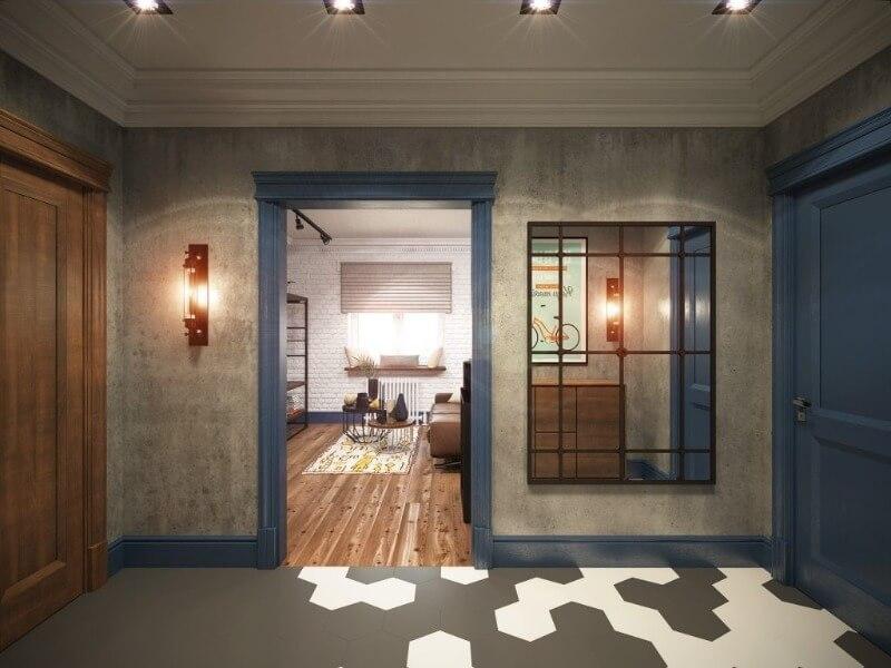 дизайн коридора лофт
