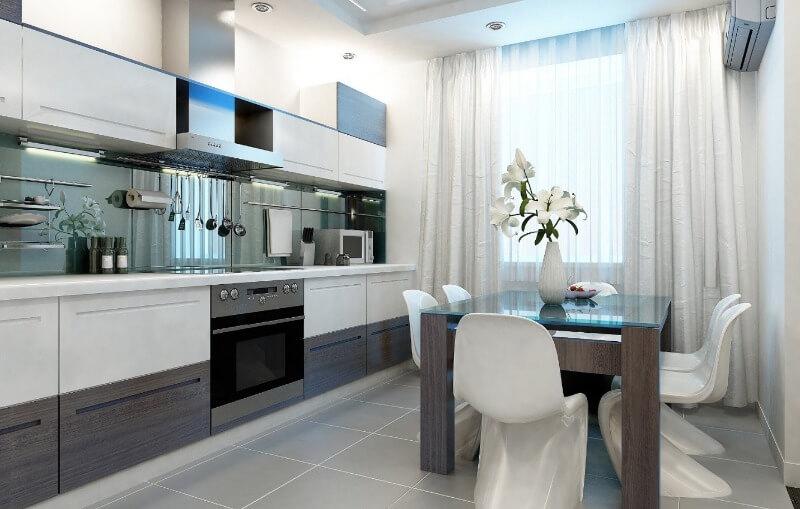 хай тек шторы в интерьере кухни