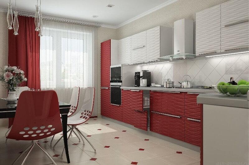 красные шторки на кухне