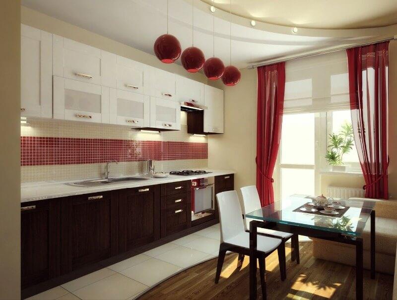 красивые красные шторы в интерьере кухни