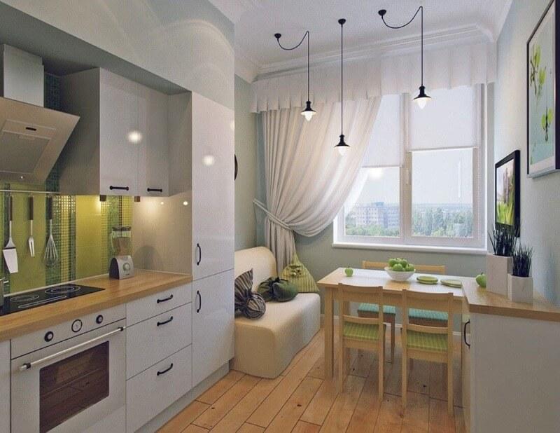 шторы из льна кухня