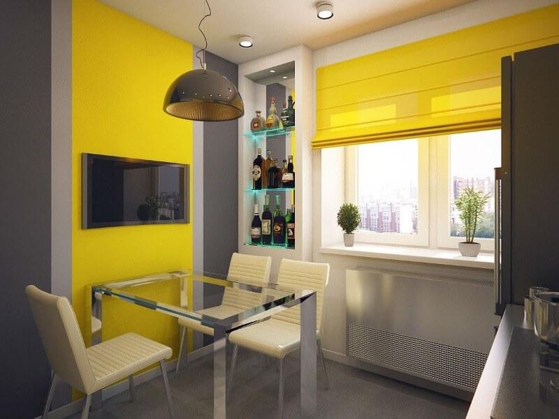 желтые шторы кухня