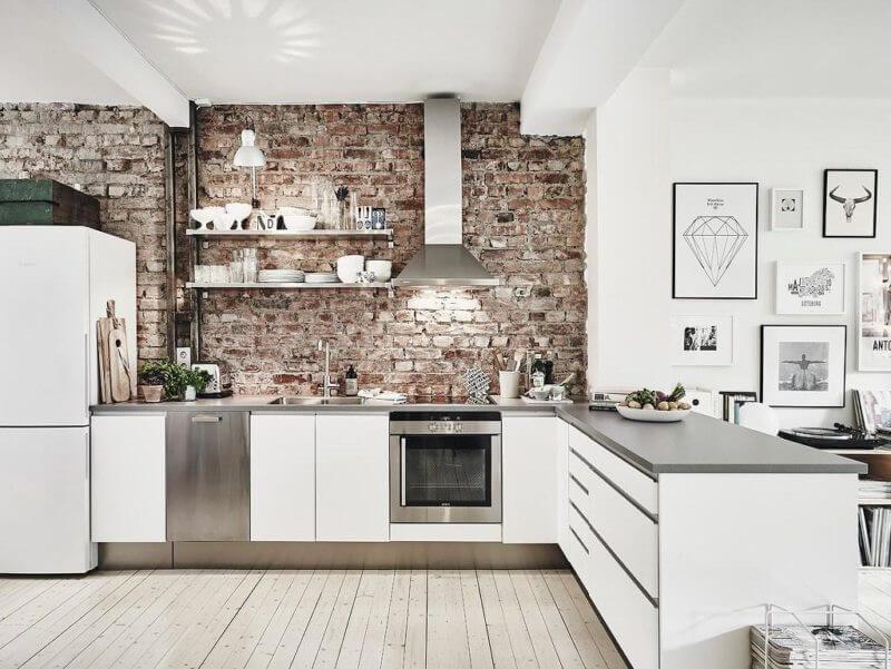 лофт-стена в скандинавской кухне