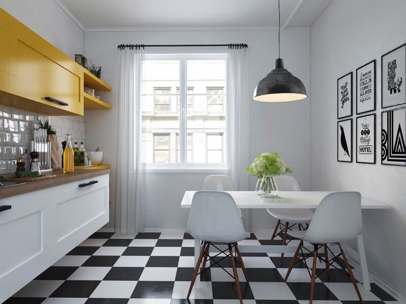 отделка потолка в скандинавской кухне
