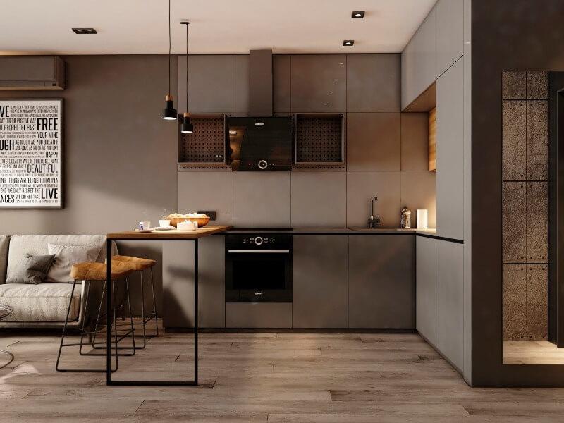 кухня лофт в однокомнатной квартире