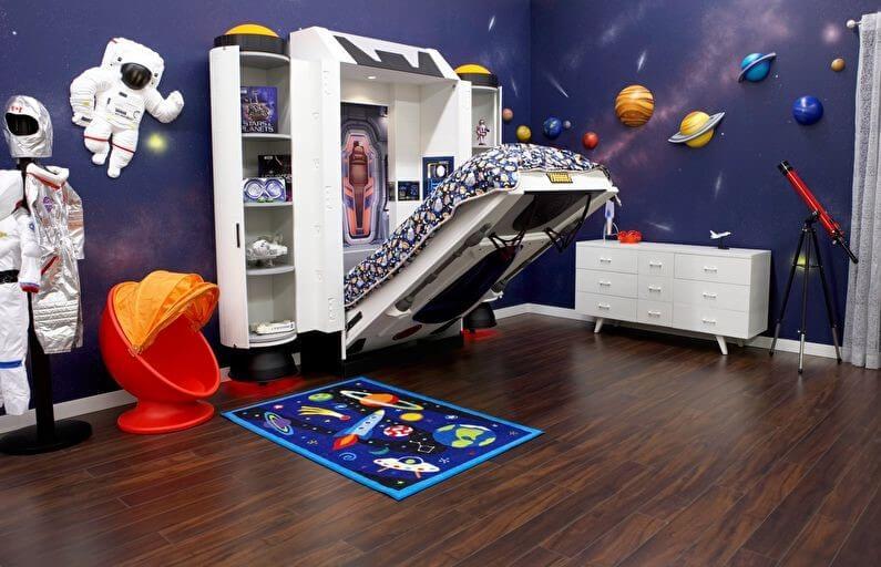 космос фотошпалери в інтер'єрі кімнати хлопчика