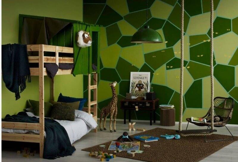 зеленый цвет в интерьере детской мальчика