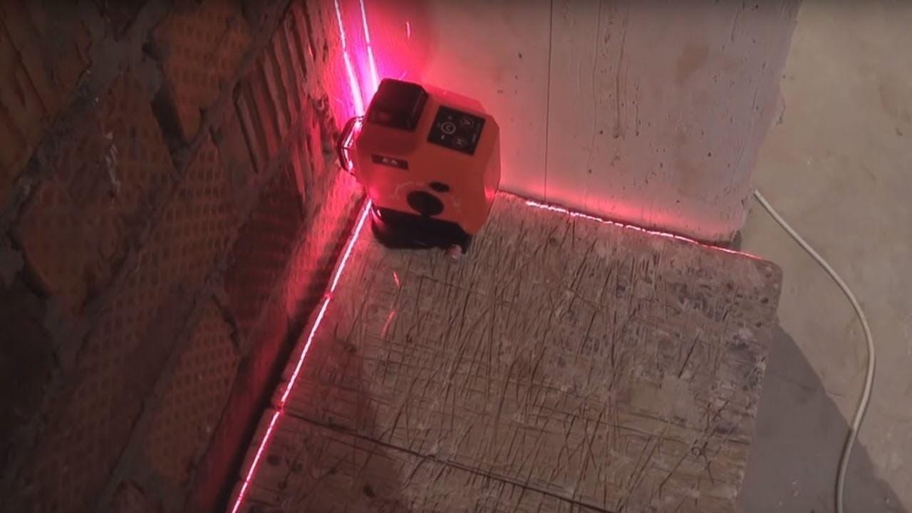 проверка неровности стен с помощью лазеря