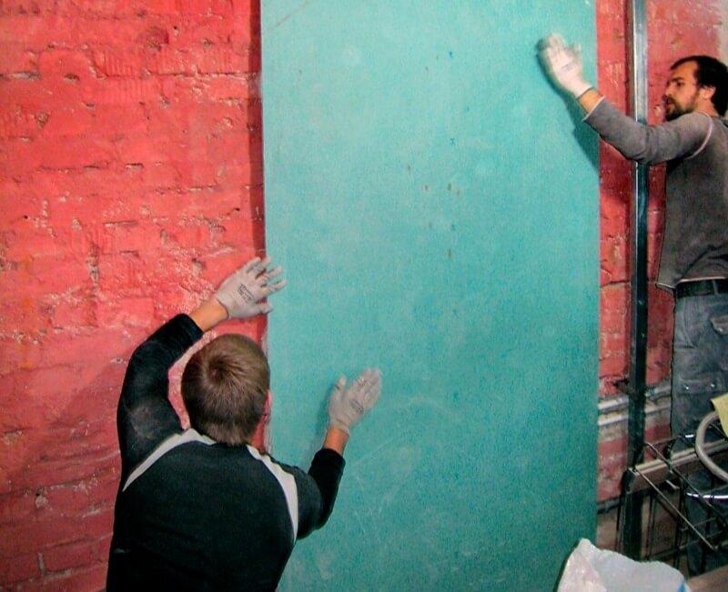 выравнивание стен бескаркасный метод
