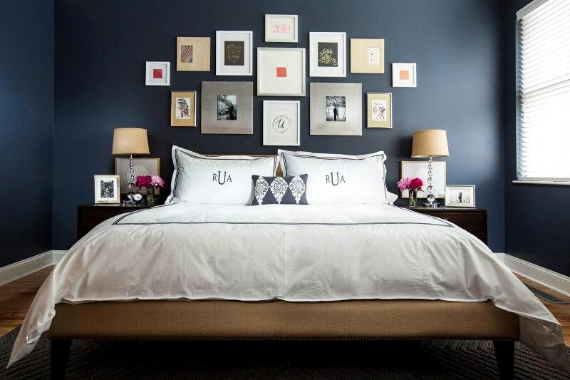 дизайн спальні синього кольору