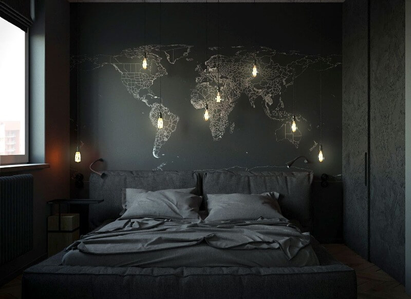 дизайн спальні в темних тонах