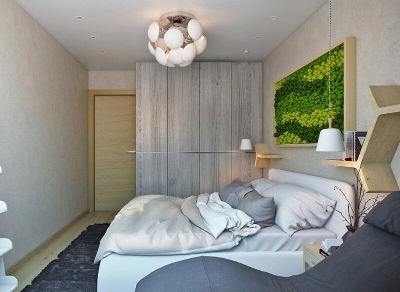 дизайн маленькой спальни в эко стиле
