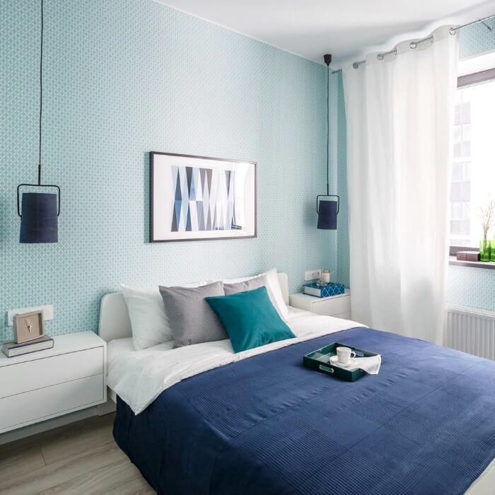 блакитна маленька спальня