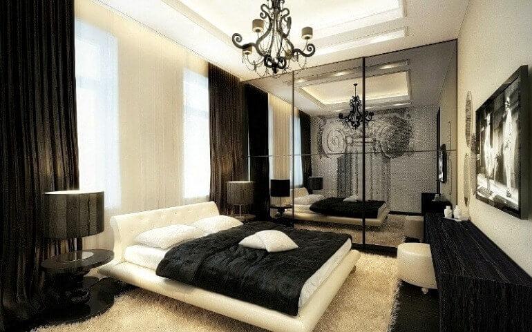 інтер'єр спальні чорний колір