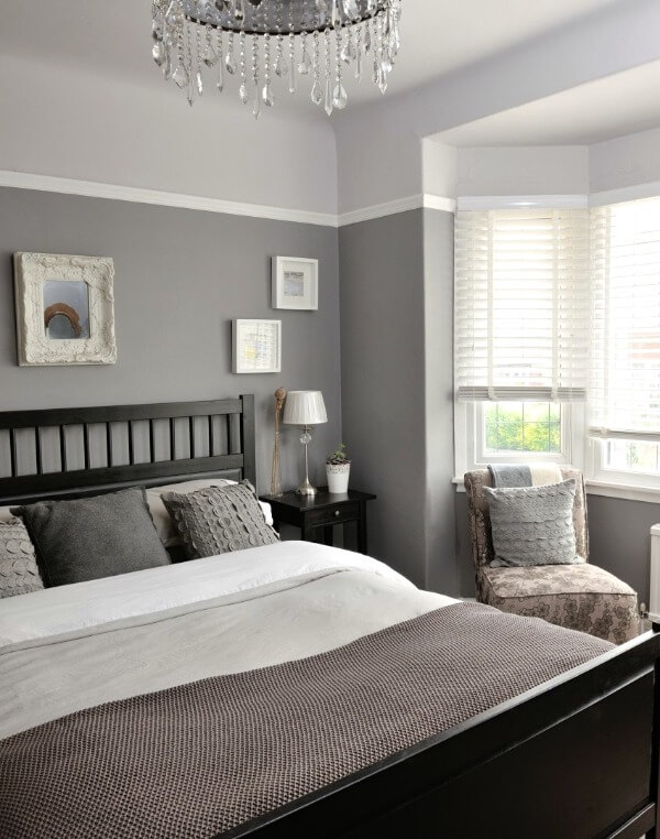 маленькая спальня серого цвета