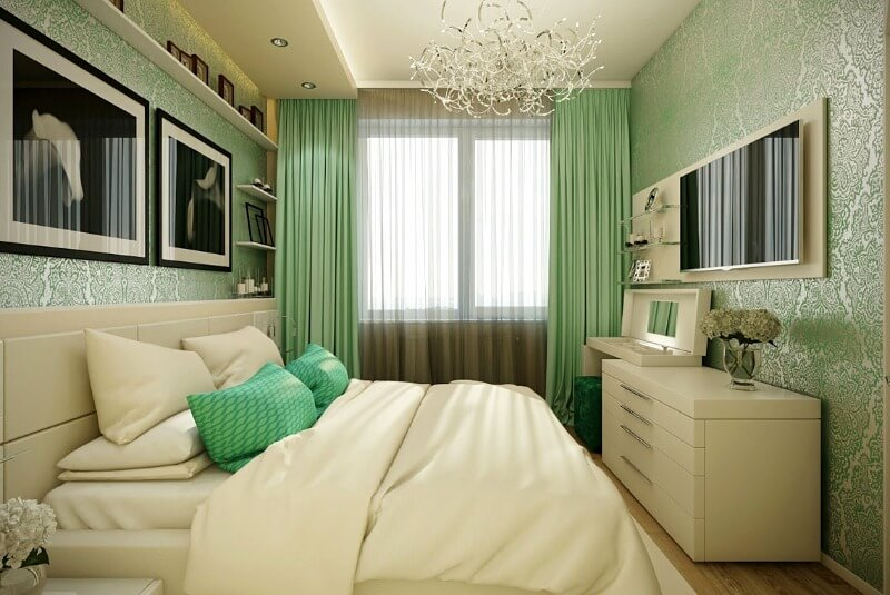 маленькая спальня зеленая