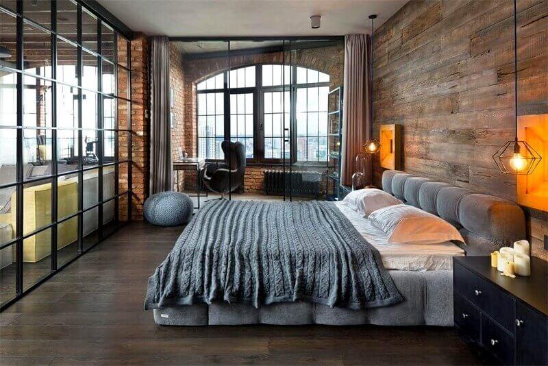 оформлення спальні в стилі лофт