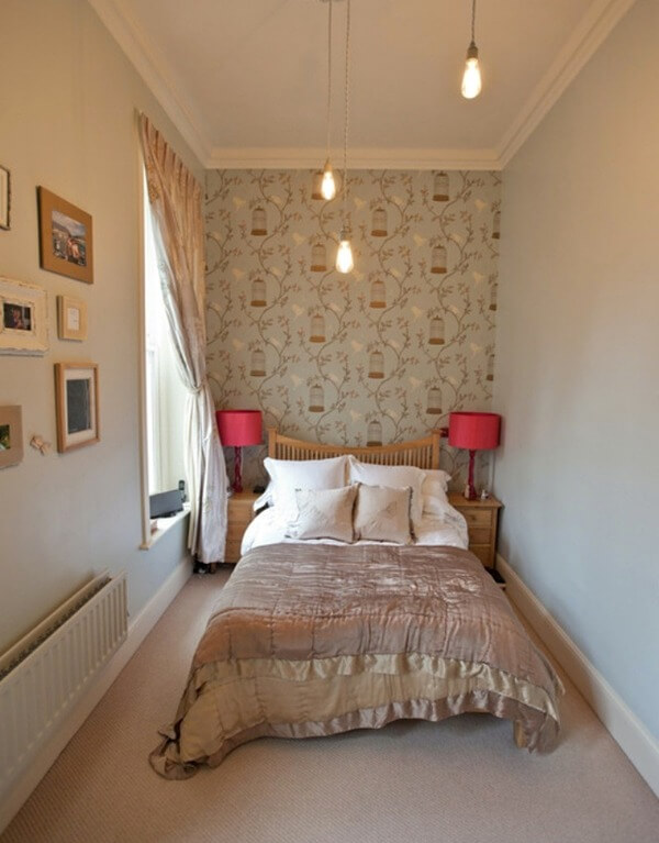 прямоугольная маленькая спальня