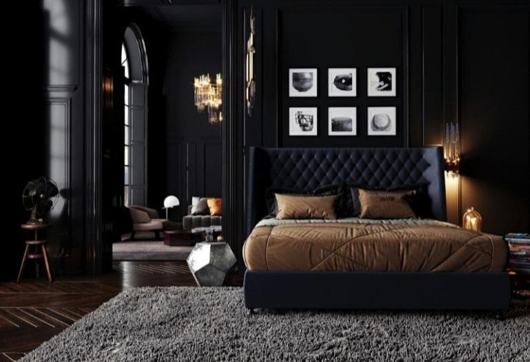 спальня чорна дизайн інтер'єру