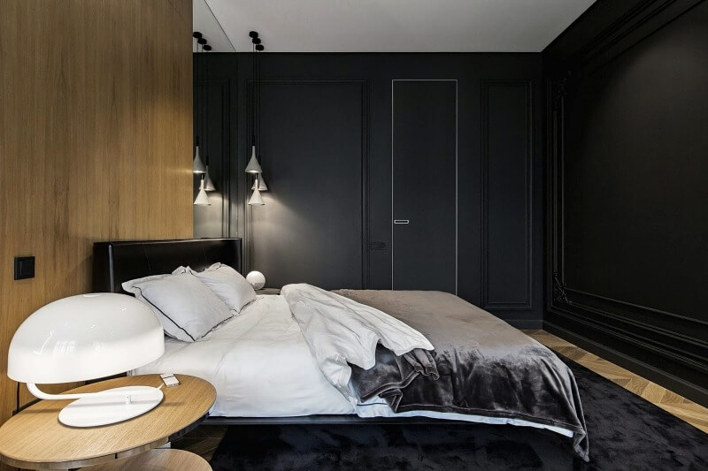 дизайн спальні в чорному кольорі