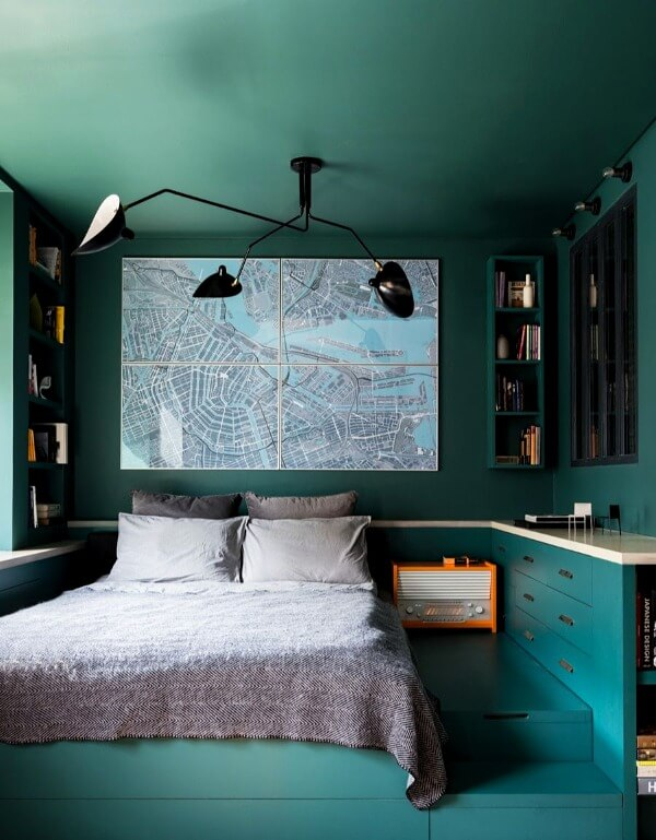 спальня маленькая зеленая