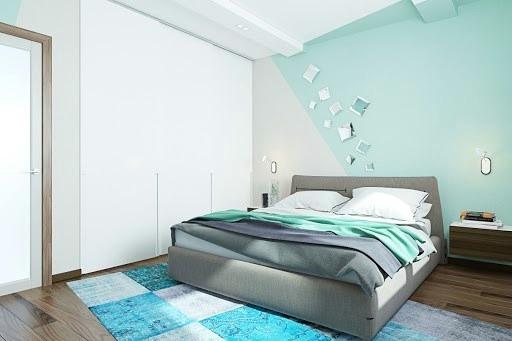 дизайн спальні м'ятний колір