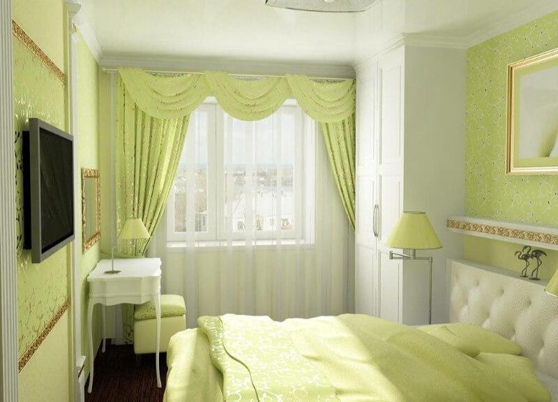 салатовый дизайн маленькой спальни