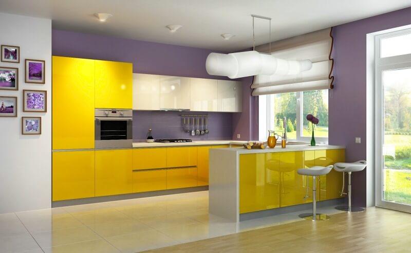желтая кухонная мебель