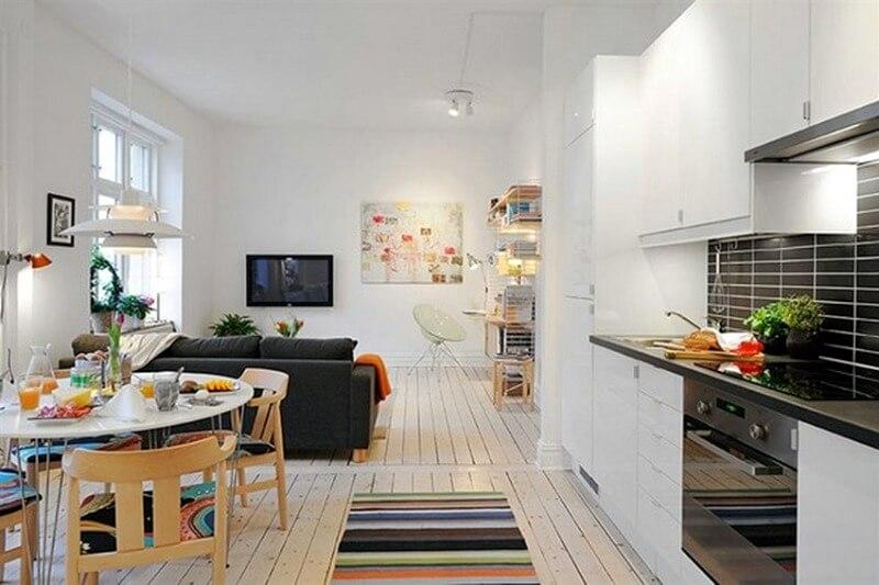кухня студия зонирование мебелью