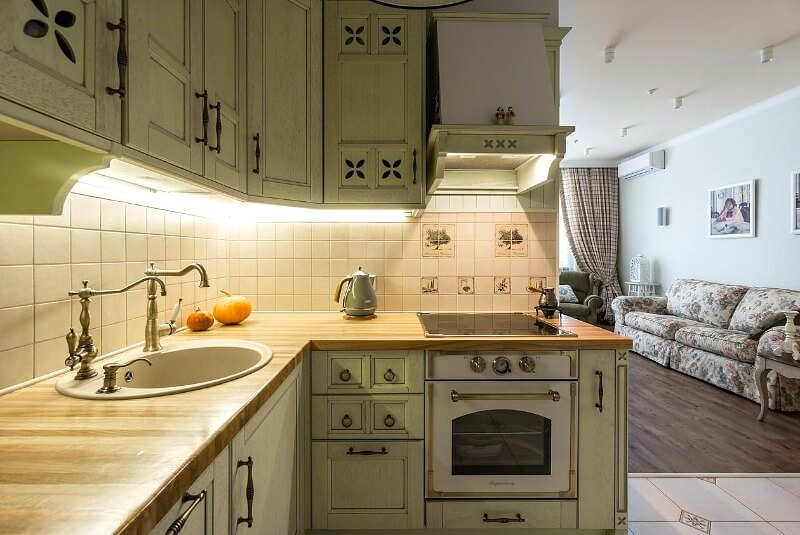 маленькая кухня прованс стиль