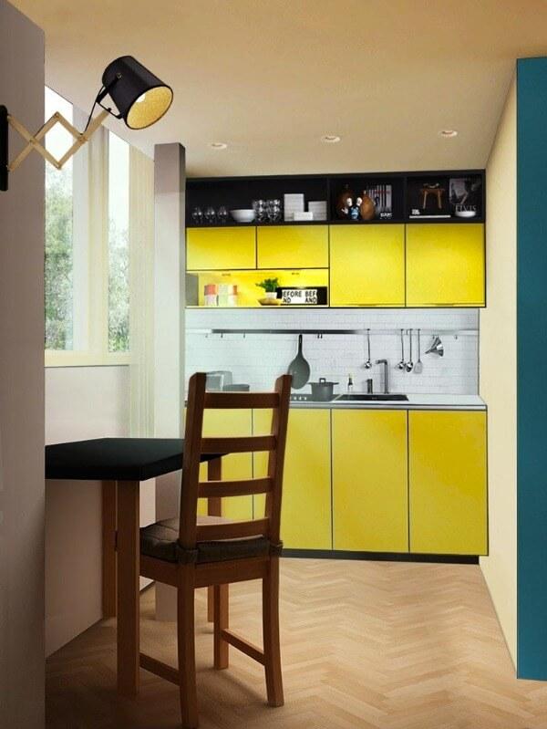 кухня маленькая желтая