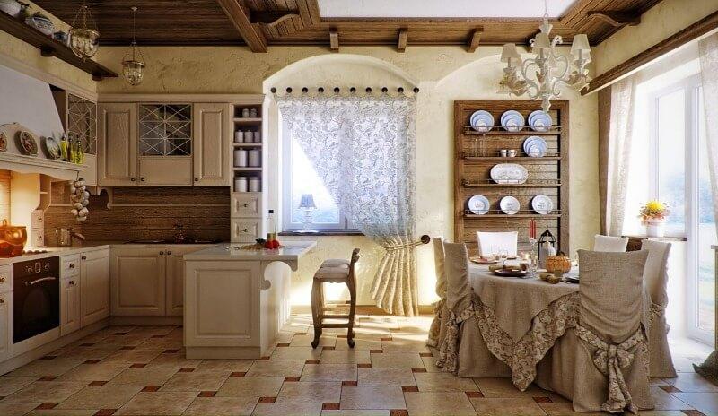 бежевий колір кухні прованс