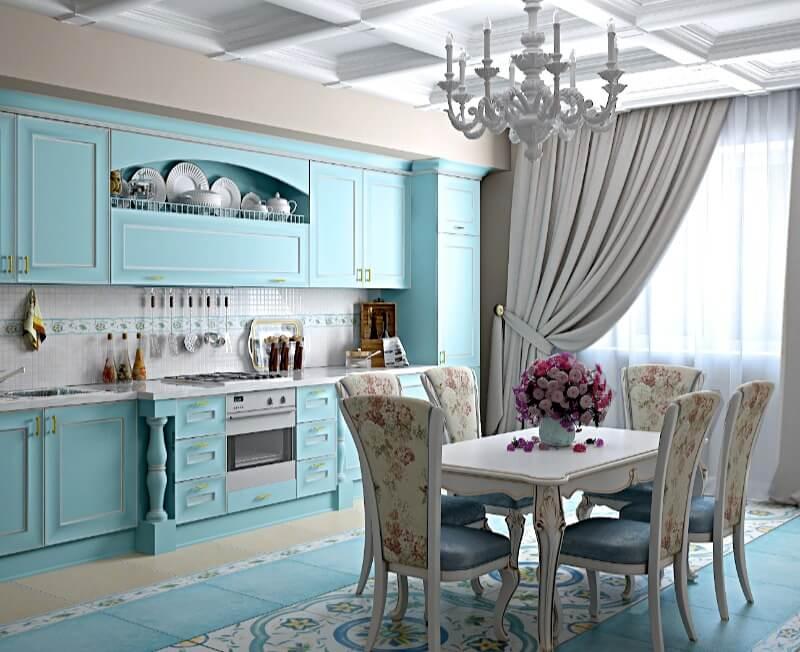 кухня прованс блакитного кольору