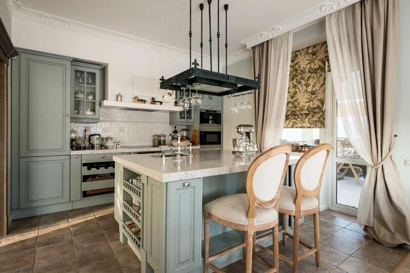 кухня в стилі прованс блакитна