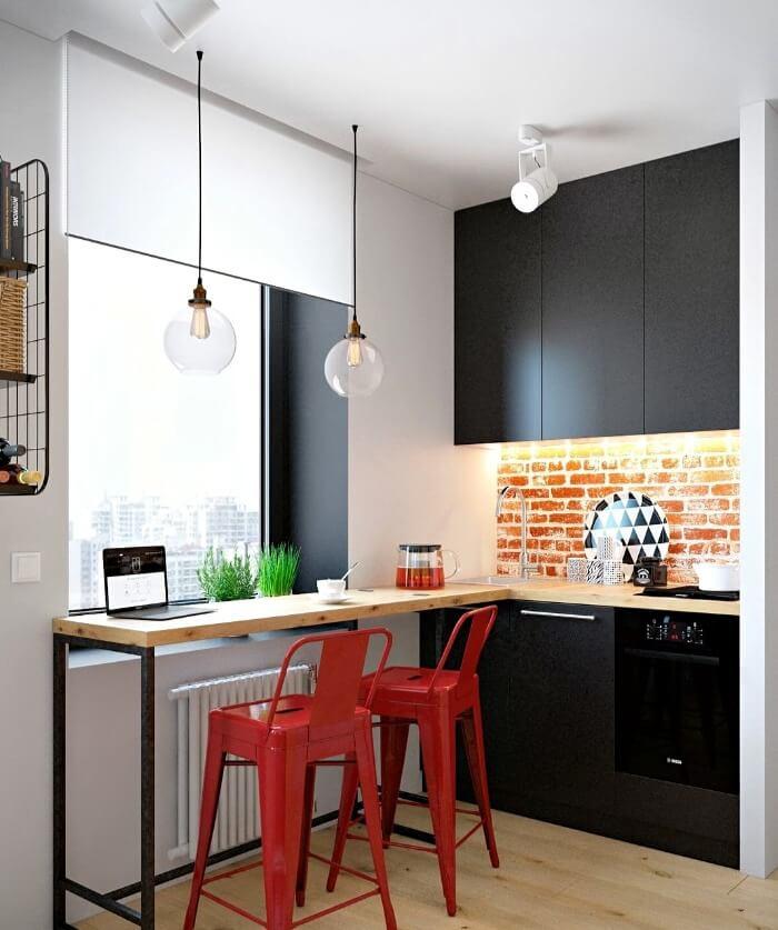 барна стійка в маленькій кухні лофт