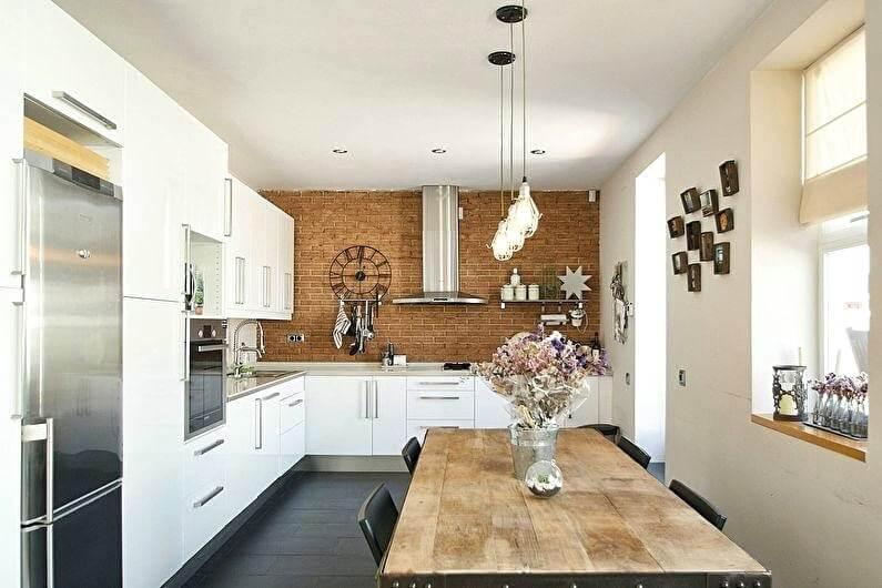 красива біла кухня в стилі лофт